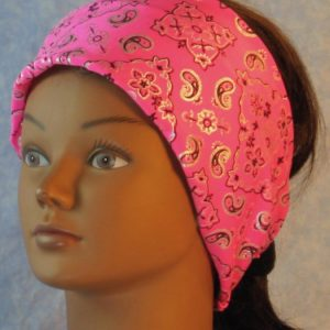Headband in Pink Bandana With Silver Black-front