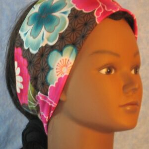 Headband in Pink Turquoise Flower on Brown Star-right