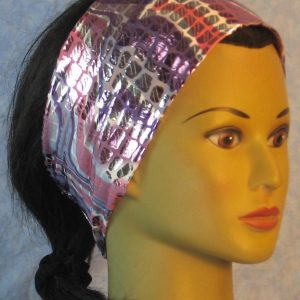 Headband in Purple White Mauve Waves Silver Rectangles-right
