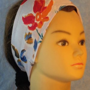 Headband in Red Orange & Blue Mustard Flowers on Gray-right