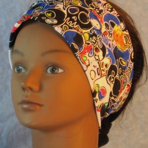 Headband in Skulls Party in Red Blue Black White-front