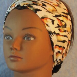 Headband in Yellow Brown Olive Black Animal on White-left