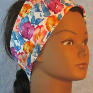 Headband in Yellow Orange Violet Blue Watercolor Flowers on White-right