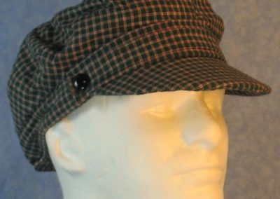 Biker Cap in Green Red White Plaid Check-right