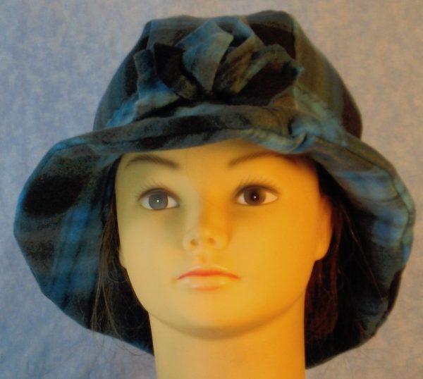 Cloche in Blue Black Plaid-front
