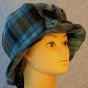 Cloche in Blue Black Plaid-right
