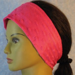 Ear Warmer in Hot Pink Dimple-left