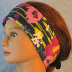 Ear Warmer in Pink Flowers Yellow Lines on Navy-left
