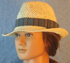 Fedora Band in Blue Navy Khaki Tan Wide Stripe-left