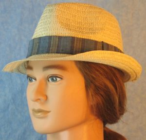 Fedora Band in Blue Navy Khaki Tan Wide Stripe-natural left