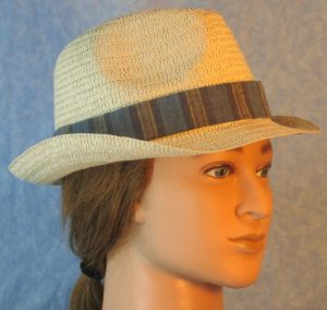 Fedora Band in Blue Navy Khaki Tan Wide Stripe-natural right