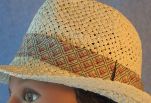 Fedora Band in Blue Rose Green Line Squares on Cream-ivory closeup