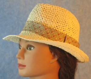 Fedora Band in Blue Rose Green Line Squares on Cream-ivory left