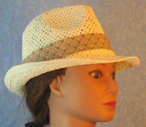 Fedora Band in Blue Rose Green Line Squares on Cream-ivory right