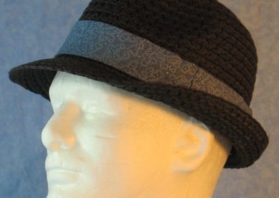 Fedora Band in Dusty Blue with White Dotted Loops-black left