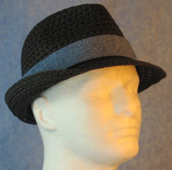 Fedora Band in Dusty Blue with White Dotted Loops-black right