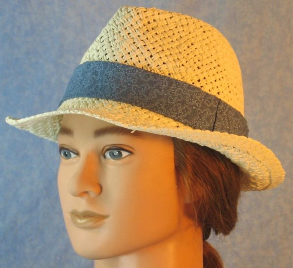 Fedora Band in Dusty Blue with White Dotted Loops-ivory left