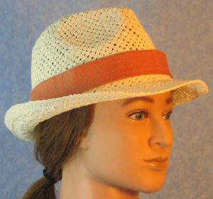 Fedora Band in Gold Geometric Line Design on Rust Orange-right