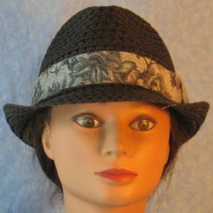 Fedora Band in Gray Green Blue Flowers on Gray-front