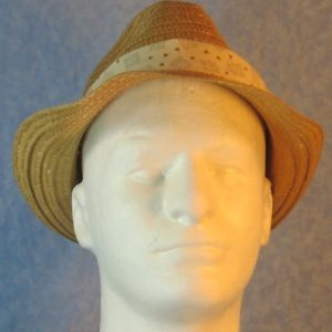 Fedora Band in Gray Swirl Block Tan Triangles on Cream-front
