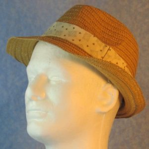 Fedora Band in Gray Swirl Block Tan Triangles on Cream-left