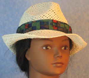 Fedora Band in Green Blue Red Purple Basketweave-front