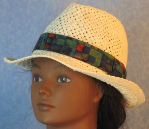 Fedora Band in Green Blue Red Purple Basketweave-left
