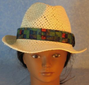 Fedora Band in Green Blue Red Purple Basketweave-top