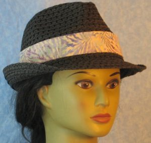 Fedora Band in Lavender Blue Purple Vein Like on Light Tan Batik-black front