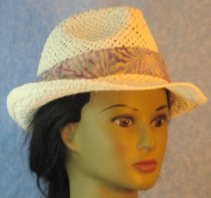 Fedora Band in Lavender Blue Purple Vein Like on Light Tan Batik-ivory front