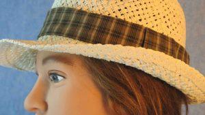 Fedora Band in Mustard Brown Black Cream Plaid-closeup