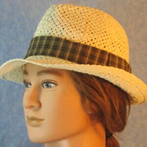 Fedora Band in Mustard Brown Black Cream Plaid-left