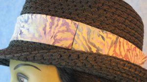 Fedora Band in Olive Green Lavender Yellow Big Leaves Batik-black closeup