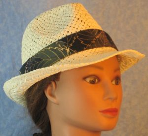 Fedora Band in Olive Green Lavender Yellow Big Leaves Batik-ivory right
