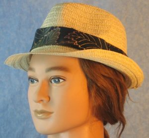 Fedora Band in Olive Green Lavender Yellow Big Leaves Batik-natural left