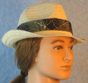 Fedora Band in Olive Green Lavender Yellow Big Leaves Batik-natural right
