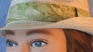 Fedora Band in Pale Green Leaves on Pale Green-closeup