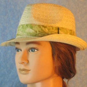 Fedora Band in Pale Green Leaves on Pale Green-left