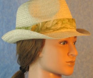 Fedora Band in Pale Green Leaves on Pale Green-right