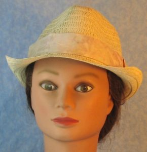 Fedora Band in Pale Lavender Purple Mint Green Blue on Cream Dyed-front