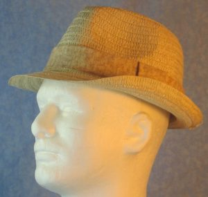 Fedora Band in Splotchy Tan on Cream-left