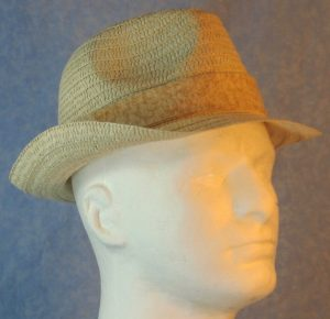 Fedora Band in Splotchy Tan on Cream-right