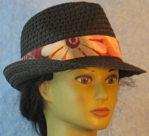 Fedora Band on Flower Bands Pattern on Rose Rust Mauve Batik-black front