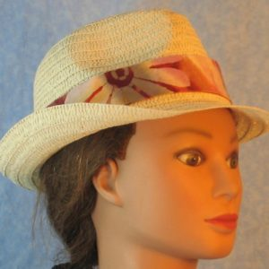 Fedora Band on Flower Bands Pattern on Rose Rust Mauve Batik-natural right