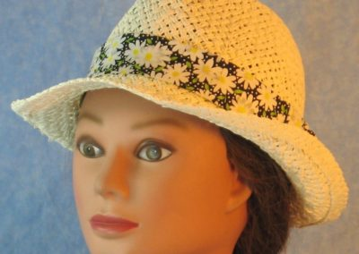 Fedora Bands in White Daisy with White Dots on Black-ivory left
