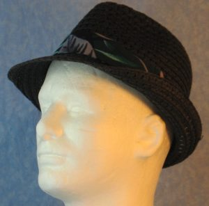 Fedora in Turquoise Green Gray Big Leaves on Black-black left