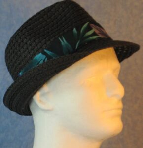 Fedora in Turquoise Green Gray Big Leaves on Black-black right