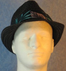 Fedora in Turquoise Green Gray Big Leaves on Black-front