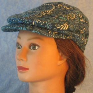 Flat Cap in Blue Flowered Paisley Flannel-left