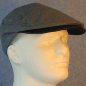 Flat Cap in Gray with Black Pleather Bill-right